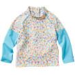 Plážové UV triko - Kytičky, dlouhý rukáv - Vel. L (3-4 roky)