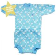 Baby neoprén-body - modré květy Vel. S (0-4 měs)