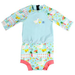 Plavky Happy Nappy kostýmek 3/4 rukáv Malé kačenky