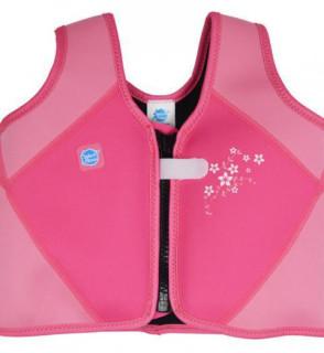 Dětská plovací vesta růžová květy VEL. M (3 - 6 let)
