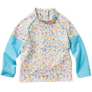 Plážové UV triko - Kytičky, dlouhý rukáv