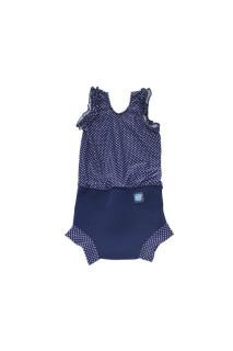 Plavky Happy Nappy kostýmek - Modrý puntík vel. S (0 - 4 měs)