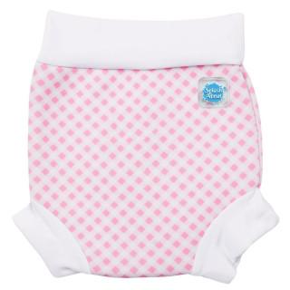 Plavky Happy Nappy - růžová kostka,bílý lem